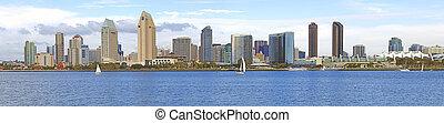 San Diego skyline panorama, CA. - A panoramic view of San...