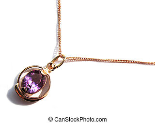 Alexandrites pendant on a gold chain