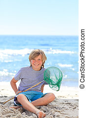 Boy with his fishing net