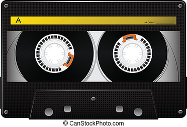 Vector audio cassette - Audio tape cassette over white...