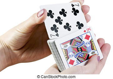 riffle the cards isolated on a white background