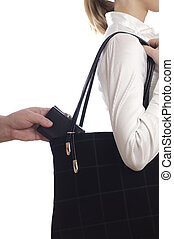 stealing purse from the bag - stealing a purse from the bag...