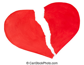 red heart made of paper torn isolated on a white background