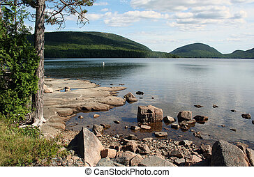 Waterfront scenery shore of Eagle Lake Acadia National Park...