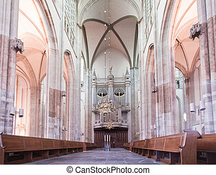 Dom church in Utrecht - interior shot of the Dom church (St....
