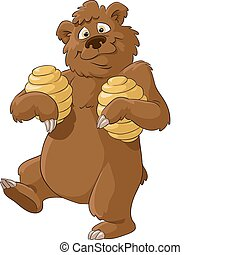 Bear and honey - Bear with honey on a white background,...