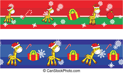 giraffe cartoon xmas banner1 - giraffe cartoon xmas banner...