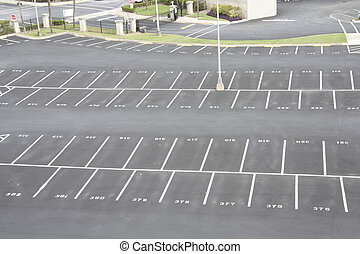 numbered parking lot - large, numbered, empty parking lot...