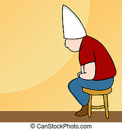 Dunce Hat Man on Stool - An image of a man wearing a dunce...