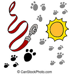 Dog Leash Pawprints - An image of a dog leash and paw...