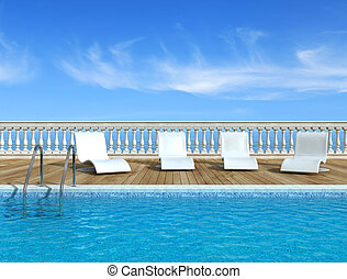 Luxury swimming pool with white fashion deckchairs...