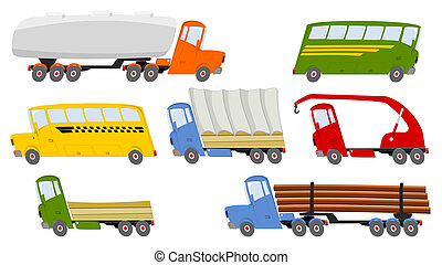 Collection of colorful trucks and buses