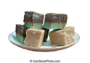 Fudge Mint Chocolate & peanutbutter - Dish of fudge, cut in...