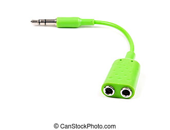green audio splitter isolated on a white background