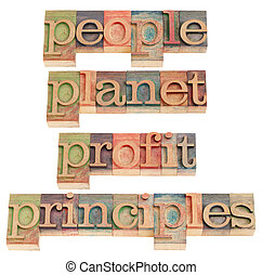 people, planet, profit, principles - sustainable business...