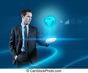 Interfaces Glowworms in light - Young businessman navigating...