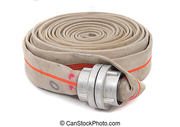 fire fighter hose isolated on the white background
