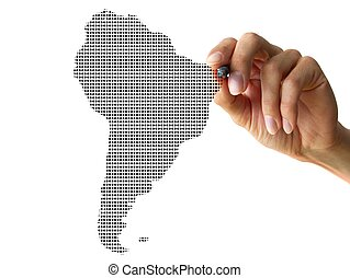 hand drawing southamerica