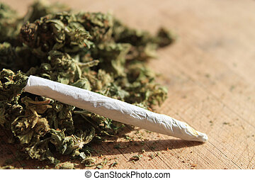 Prescription marijuana - Green cannibis joint and herb...