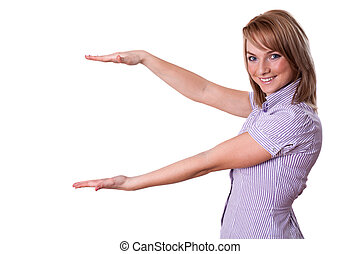 Woman presenting something on empty palm