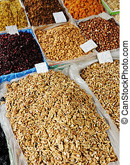 Dried fruits on market place, piazza, bazaar