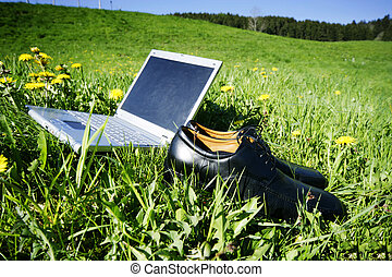 Fieldwork - laptop in grass as a symbol for...