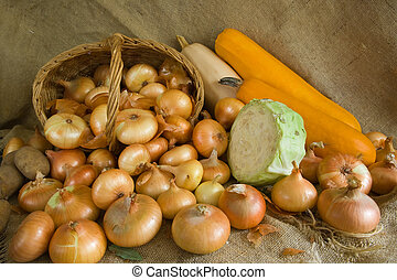 onion and vegetables on sacking