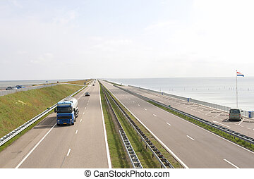 Motorway A7 a famous causeway in the Netherlands (Afsluitdijk)