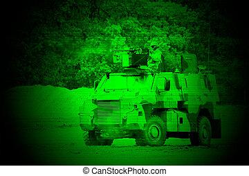 militar, noche, visión
