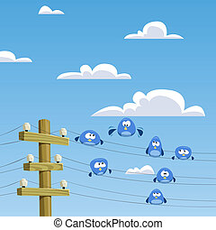 Rookery - A flock of birds sitting on wires