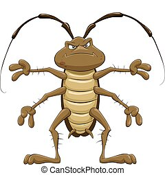 Cockroach - Cartoon cockroach on a white background, vector...