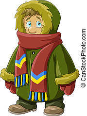 Fur coat - A boy in a fur coat, vector