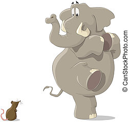 The elephant and the mouse - The elephant was frightened of...