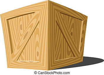 Box - Wooden box on a white background, vector