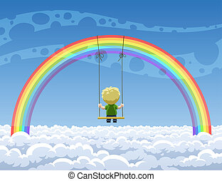 Rainbow - Boy swinging on a swing hanging from a rainbow