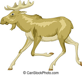 Moose - Running moose on a white background, vector
