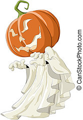 Pumpkin - Illustration of a ghost with pumpkin head