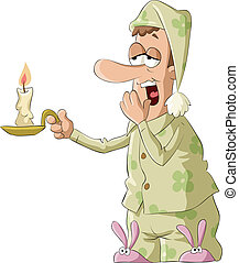 Good night - Man in pajamas and a candle, vector