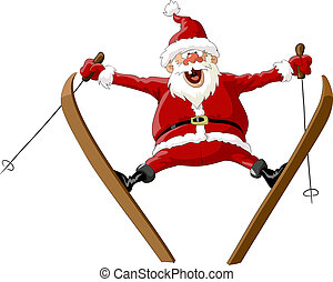 Santa on skis - Santa Claus on skis in the jump, vector