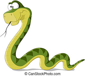Snake - Cartoon illustration of a green snake