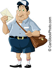 Postman - A postman with a bag and a letter