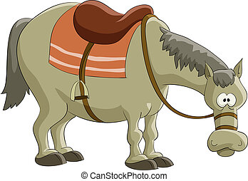 Horse - Cartoon horse on white background, vector...