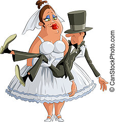 Married - Bride groom is in the hands, vector