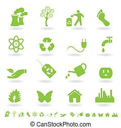 verde, eco, icona, set