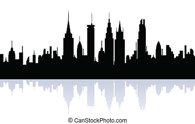 Cityview silhouette - Big city skyline silhouette view