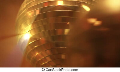 Disco ball in red light. - Disco ball in red light. Closeup,...