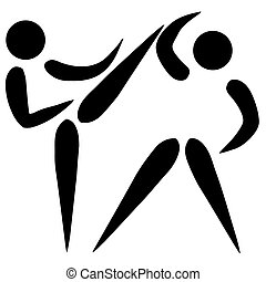 Taekwondo sign - Black silhouetted karate or taekwondo sign...