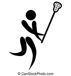 Lacrosse sign - Black silhouetted Lacrosse sign or symbol;...
