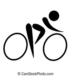 Cycling sign - Black silhouetted cycling sign or symbol;...