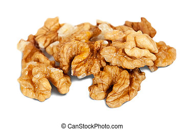 Few Half walnut. Isolated over white background